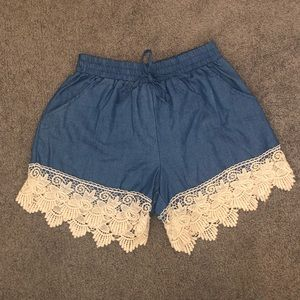 Blue Lace Shorts